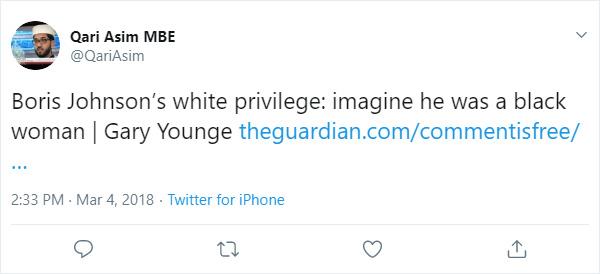 Qari Asim tweet on Boris Johnson