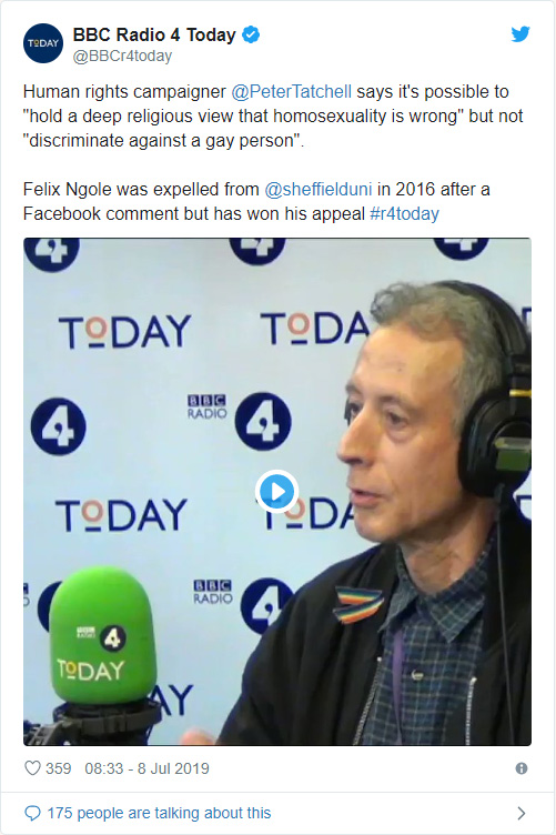 Today programme tweet with video of Peter Tatchell